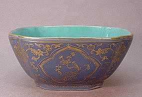 CHINESE LATE 19TH CENTURY BLUE AND GOLD BOWL