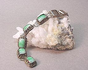 CHINESE SILVER AND JADE BRACELET