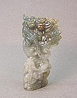 CHINESE CARVED JADE DRAGONS STATUE