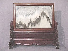 CHINESE MARBLE AND ROSE WOOD TABLE SCREEN