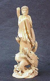 JAPANESE 19TH CENTURY IVORY OKIMONO OF A BUDDHA