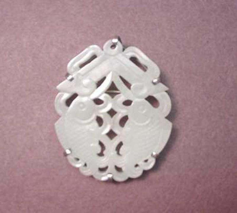 CHINESE CARVED NEPHRITE AND SILVER PIN