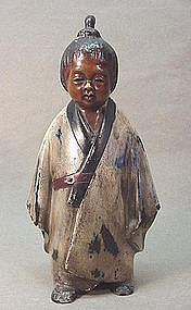 JAPANESE LACQUERED BRONZE STATUE OF A BOY