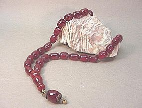 CHINESE CHERRY AMBER BEAD NECKLACE