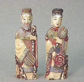 PR. CHINESE IVORY EMPEROR AND EMPRESS SNUFF BOTTLES