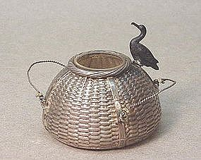 CHINESE EXPORT STERLING SILVER INKWELL