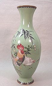 JAPANESE CLOISONNE VASE WITH ROOSTER AND HEN