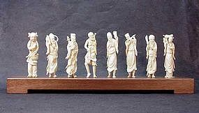 "CHINESE CARVED IVORY ""EIGHT IMMORTALS"""