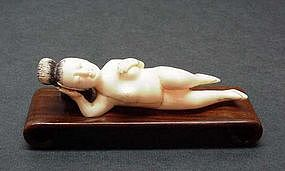 CHINESE CARVED IVORY DOCTOR'S LADY