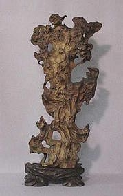 CHINESE CARVED ROOT SCHOLAR DESK SCULPTURE