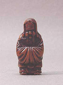 19th C. JAPANESE WOOD NETSUKE OF JUROJIN
