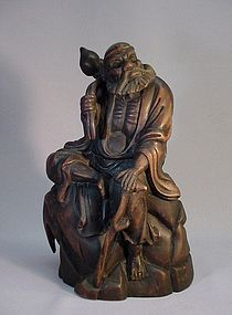CHINESE WOOD CARVING OF TIE GUAI LI