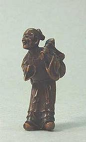 19TH C. JAPANESE WOOD OKIMONO OF SENNIN