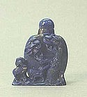 CHINESE CARVED SMALL LAPIS SNUFF BOTTLE