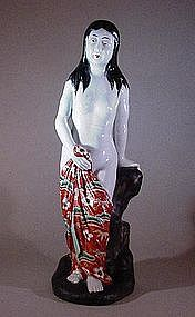 JAPANESE CERAMIC STATUE OF A NUDE LADY