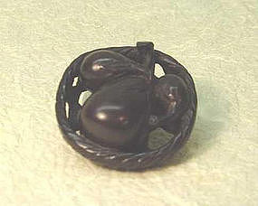 19th C. JAPANESE WOOD NETSUKE OF EGGPLANTS