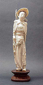 CHINESE IVORY CARVING OF FEMALE WARRIOR