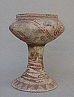 Ban Chiang painted pedestal pottery vase