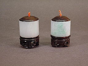 PAIR OF CHINESE CARVED JADE ARCHERY RINGS