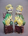 PAIR OF 19th C. CHINESE EXPORT SANCAI FOO LIONS
