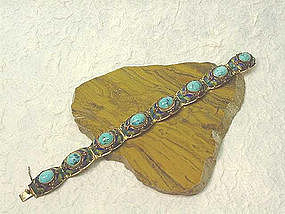 CHINESE CLOISONNE AND TURQUOISE BRACELET