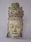 17TH C. CHINESE CARVED WOOD HEAD OF GUAN YIN
