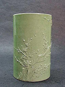 CHINESE 19TH C. GREEN PORCELAIN BRUSH HOLDER
