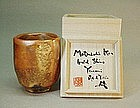 """Golden"" Shino yunomi (tea cup) by Matsuzaki Ken"