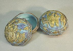 PAIR OF CHINESE TURQUOISE AND GOLD SEAL BOXES