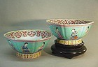 A PAIR OF CHINESE FAMILLE ROSE 8 SIDED BOWLS