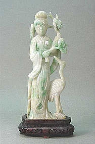 EARLY 20TH C. CHINESE CARVED JADEITE LADY