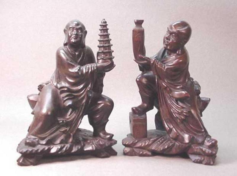 MID 20TH C. CHINESE CARVED WOOD LUOHAN STATUE