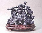CHINESE CARVED LAPIS DEITY FOR LONGEVITY