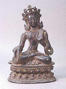 EARLY OR MID 20TH C.SINO-TIBETAN BRONZE DEITY