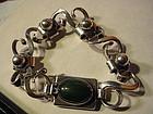Modernist~ Clifford Russell Sterling Nephrite Bracelet