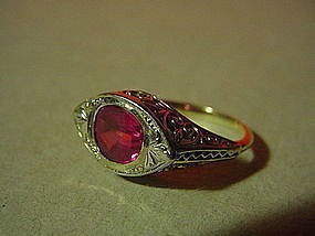 10k  ART DECO Pink Synthetic Sapphire Ring