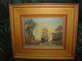 Oil on Copper ~Schooner Melrose~ R.Thomas Platt 1897-