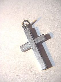 Solid Sterling Cross ~ Charm~ 3Gr
