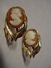 14k Gold Filled Cameo Earrings ~ De Curtis ~ Screwbacks