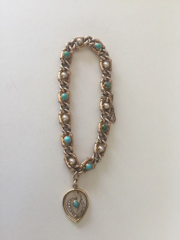 15k Victorian  Persian Turquoise + Pearl Bracelet