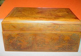 Chinese Scenic Bakelite Box ~ Signed