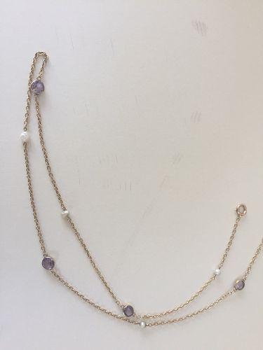 15k Edwardian Amethyst + Pearl Chain