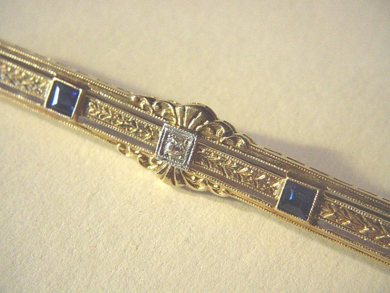 14k Gold Edwardian Sapphire + Diamond Barpin
