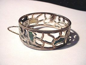 50's Signed Taxco Sterling Turquoise Bangle