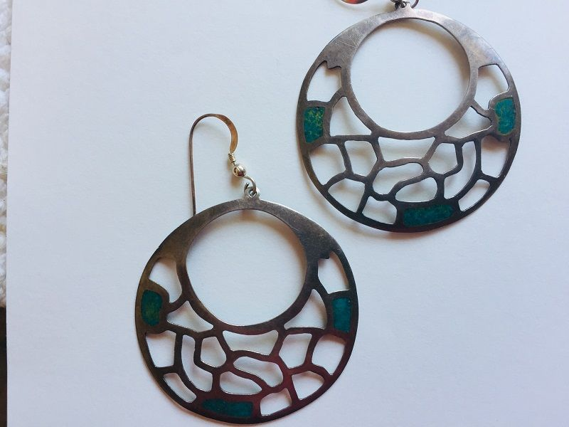 Signed Mexican Turquoise Hoop Earrings