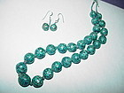 30's Vintage Turquoise Bead Necklace + Earring Set