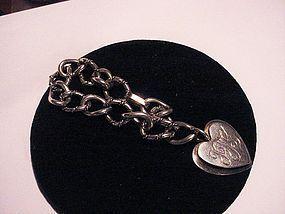 Alphonse LaPaglia Sterling Cable Charm Bracelet w/ Heart