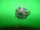 """60's 14k Sapphire + Diamond """"Flower"""" Ring"""