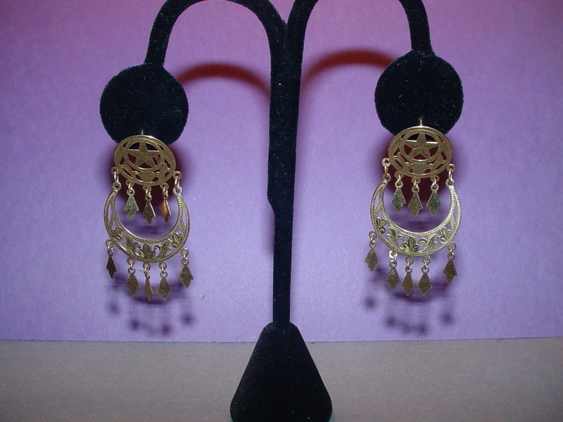 14k  Crescent Moon + Star Chandelier Earrings
