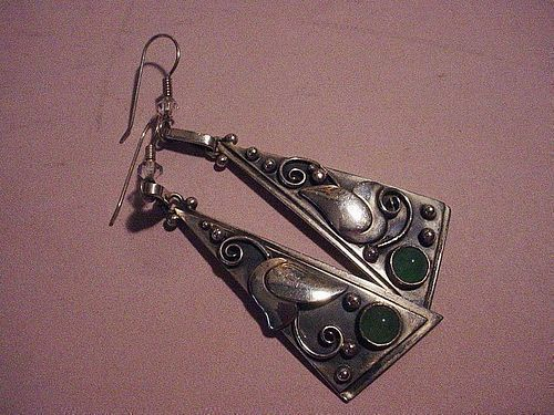 Laurence Foss Sterling Chrysoprase Dangle Earrings